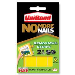 UniBond No More Nails Strip Ultra-strong Removable (Translucent) 1 x Pack of 10 Strips Image