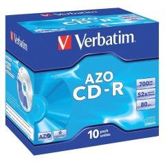 Verbatim (700MB) CD-R Recordable Disk Write-Once Cased 52x Speed 80 Min Pack of 10 Image