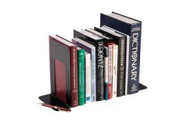 5 Star Office Large Metal Bookends (Black) Set of 2
