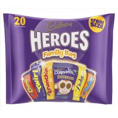 Cadbury Heroes (278g) Treat Sized Assorted Chocolates in a Family Bag (1 Pack of 20 Chocolates) Image
