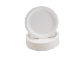 Unbranded Rigid Biodegradable Microwaveable Plates 230mm Diameter (1 x Pack of 50)