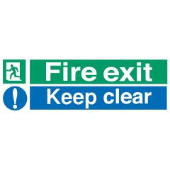 Stewart Superior SP055SAV Self-Adhesive Vinyl Sign (600x200mm) - Fire Exit Keep Clear Image