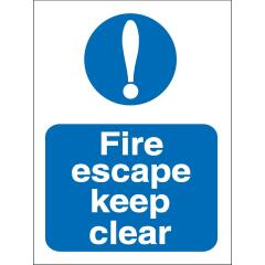 Stewart Superior M025SAV Self Adhesive Vinyl Sign (150x200mm) - Fire Escape Keep Clear Image
