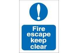 Stewart Superior M025SAV Self Adhesive Vinyl Sign (150x200mm) - Fire Escape Keep Clear
