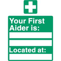 Stewart Superior SP049SAV Self-Adhesive Vinyl Sign (150x200mm) - Your First Aider Is Image