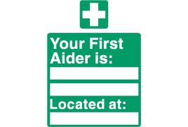 Stewart Superior SP049SAV Self-Adhesive Vinyl Sign (150x200mm) - Your First Aider Is