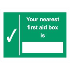 Stewart Superior SP075SAV Self-Adhesive Vonyl Sign (200x150mm) - Your Nearest First Aid Box Is Image