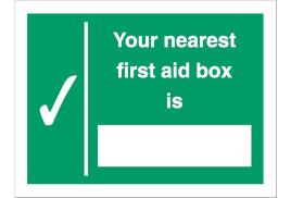 Stewart Superior SP075SAV Self-Adhesive Vonyl Sign (200x150mm) - Your Nearest First Aid Box Is