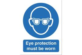 Stewart Superior M004SAV Self-Adhesive Vinyl Sign (150x200mm) - Eye Protection Must Be Worn