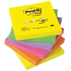 Post-It Post-it Z-Notes (76 x 76mm) Pop-Up Fan-Folded Refill Sticky Notes (Neon Rainbow) 6 x 100 Sheets Image