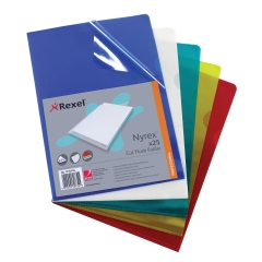 Rexel Nyrex (A4) Cut Flush Folders (Assorted Colours) Pack of 25 Folders Image