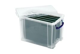Really Useful (24L) A4 Suspension File Box (Clear) + 10 x A4 Suspension Files