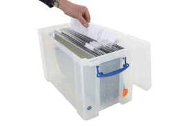 Really Useful (24L) A4 Suspension File Box (Clear)