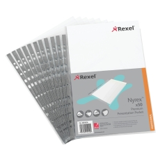 Rexel Nyrex (A4) Premium Presentation Top Opening Pockets (Clear) Pack fo 50 Pockets Image