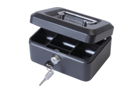 Unbranded Cash Box with Lock and 2 Keys Removable Coin Tray 6 inch W152xD115xH70mm (Black)