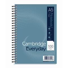 Cambridge Everyday (A5) Notebook Wirebound 100 Pages 60g/m2 Punched 2-Holes Ruled Perforated (Pack 10) Image