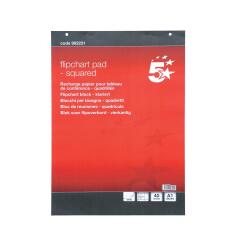 5 Star Office (A1) Flipchart Pad Perforated 40 Sheets Feint 20mm Squared (Pack of 5) Image