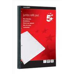5 Star Office(A4) Jumbo Refill Pad Sidebound 60gsm Ruled Margin Punched 4 Holes 400pp (Red) Pack of 4 Image