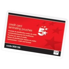 5 Star Office Laminating Pouches 250 Micron for Credit Card size [54x86mm] Gloss [Pack 100] Image