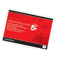 5 Star Office Laminating Pouches 250 Micron for Badge size [67x97mm] Gloss [Pack 100] Image