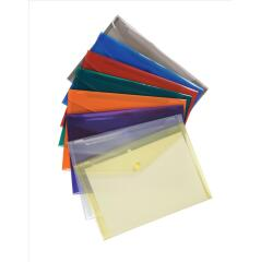 5 Star Office (A4) Polypropylene Stud Wallet Envelope (Assorted Translucent Colours) Pack of 25 Image