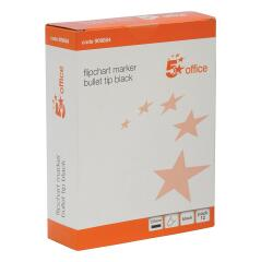 5 Star Office Flipchart Marker Bullet Tip Water-based 2mm Line Black [Pack 12] Image
