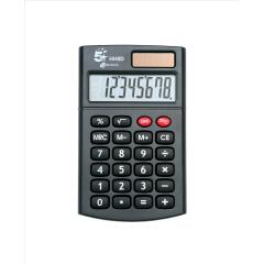 5 Star Office Handheld Calculator 8 Digit 3 Key Memory Solar and Battery Power 56x8x100mm (Black) Image