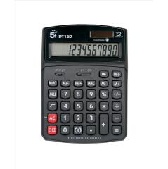 5 Star Office Calculator Desktop Solar/Battery Power 12 Digit 2 Set Memory  Image