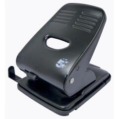 5 Star Office 2-Hole (40 x 80g/m2) Metal Hole Punch (Black) with Plastic Base Image