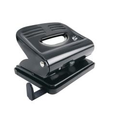 5 Star Office 2-Hole (18 x 80g/m2) Metal Hole Punch (Black) with Plastic Base Image