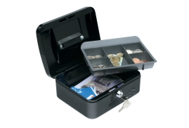 5 Star Facilities Cash Box with 5-compartment Tray Steel Spring Lock 8 Inch W200xD160xH70mm Black