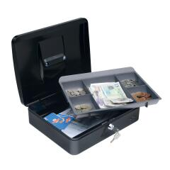5 Star Facilities Cash Box with 5-compartment Tray Steel Spring Lock 12 Inch W300xD240xH70mm Black Image