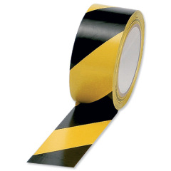 5 Star Office Hazard Tape Soft PVC Internal Use (50mm x 33m) Black and Yellow Image