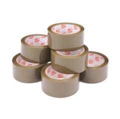 5 Star Office Packaging Tape Low Noise Polypropylene 48mm x 66m Buff [Pack 6] Image