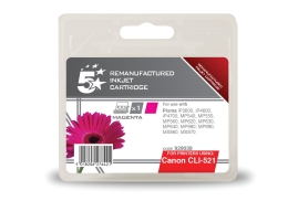 5 Star Office Remanufactured Canon CLI-521M Alternative (Yield: 470 Pages) Magenta Inkjet Cartridge