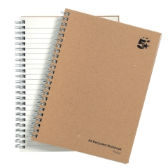 5 Star Eco Notebook Wirebound Hard Cover Recycled 80gsm A5 Manilla [Pack 5] Image