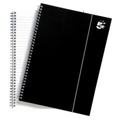 5 Star Office Notebook Wirebound Polypropylene Elasticated 80gsm A4 Black [Pack 6] Image