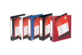 5 Star Office (A4) Presentation Ring Binder Polypropylene 4 D-Ring 25mm Size (Red) Pack of 10