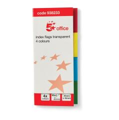 5 Star Office Index Flag Transparent Assorted [Pack 5] Image