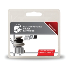 5 Star Office Remanufactured Canon CLI-551XLBK Alternative (High Yield: 780 Pages) Black Inkjet Cartridge Image