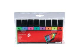 5 Star Office Highlighters Chisel Tip 1-5mm Line Assorted [Wallet 8]