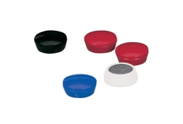 5 Star Office Round Plastic Covered Magnets 20mm Black (Pack 10)