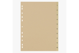 5 Star Eco (A4) File Divider Numbered Tabs 1-10 Recycled Manilla 11 Holes 150gsm (Buff)