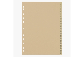 5 Star Eco (A4) File Divider Numbered Tabs 1-31 Recycled Manilla 11 Holes 150gsm  (Buff)