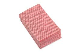 5 Star Facilities Cleaning Cloths Anti-microbial 40gsm W500xL300mm Wavy Line Red (Pack of 50)