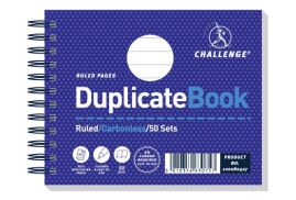 Challenge (105mm x 130mm) 50 Sheets Wirebound Perforated Ruled Duplicate Book (Blue)
