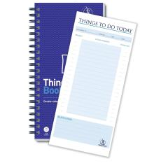 Challenge (280mm x 141mm) 115 Sheets Wirebound Perforated To-Do List Book (Blue) Image