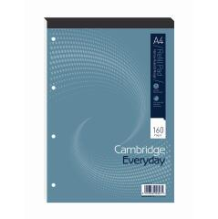 Cambridge Everyday (A4) Refill Pad 160 Pages 70g/m2 Headbound Punched 4-Holes Narrow Ruled Margin (Pack 5) Image