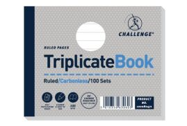 Challenge (105mm x 130mm) 100 Sheets Side Taped Perforated Ruled Triplicate Book (Grey)