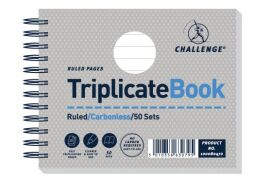 Challenge (105mm x 130mm) 50 Sheets Wirebound Perforated Ruled Triplicate Book (Grey)